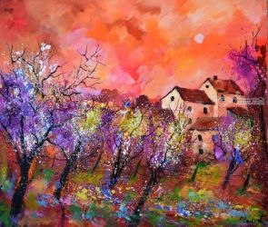 Magic autumn, Architecture,Decorative Arts,Drawings / Sketch,Paintings, Expressionism, Landscape, Canvas, By Pol Ledent