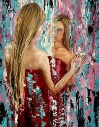 Magic mirror, Paintings, Expressionism,Impressionism,Modernism, Portrait, Canvas, By Inna Montano