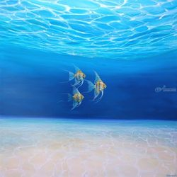 Magic Under the Sea - an<br>underwater seascape with gold<br>angel fish, Paintings, Fine Art, Seascape, Canvas, By Gill Bustamante