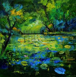 Magic waters, Architecture,Decorative Arts,Drawings / Sketch,Paintings, Expressionism, Landscape, Canvas, By Pol Ledent