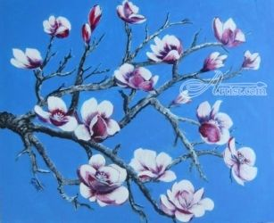 Magnolia's, Paintings, Fine Art, Floral, Acrylic, By Gerda Faure