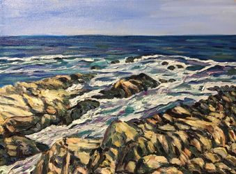 Maine Coast- Along the<br>Marginal Way, Paintings, Impressionism, Seascape, Oil,Painting, By Richard Nowak