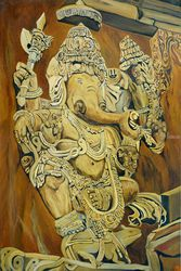 Majestic Ganrsha, Paintings, Expressionism, Figurative, Canvas,Oil, By Ajay Harit