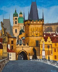 Mala Strana, Prague, Paintings, Fine Art,Impressionism,Modernism,Realism, Architecture, Canvas,Oil, By Ivan Klymenko