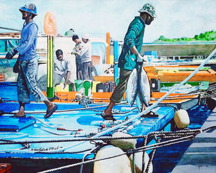 Maldivian Fisherman, Paintings, Fine Art, Figurative, Watercolor, By Angelo