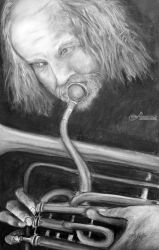 Man Playing Flugelhorn, Drawings / Sketch, Fine Art, Portrait, Charcoal, By Loretta Luglio