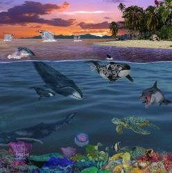 Marine Life, Digital Art / Computer Art,Drawings / Sketch,Illustration,Poster, Fine Art,Realism, Animals,Environmental art,Landscape,Narrative,Nature,Seascape,Tropical,Wildlife, Digital,Pencil, By Marty Jones