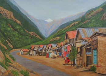 Market  Country-Side Sikkim, Paintings, Expressionism,Realism, Landscape, Canvas, By Ajay Harit