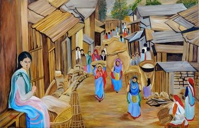 Market Scene, Paintings, Realism, Landscape, Canvas, By Ajay Harit