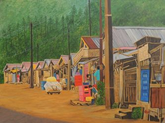 Market Scene Sikkim I, Paintings, Realism, Landscape, Canvas, By Ajay Harit