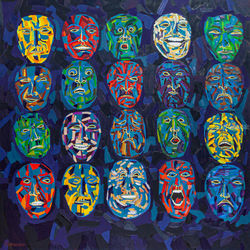 Masks, Paintings, Expressionism, Fantasy, Canvas,Oil, By Ivan Klymenko