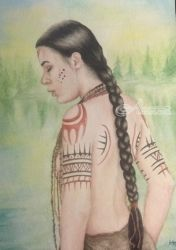 Matoaka I: Spirit Lake, Paintings, Realism, Spiritual, Watercolor, By Jocelyn Rodgers