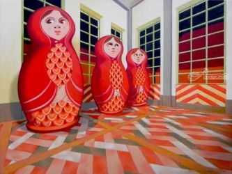 Matryoshka, Paintings, Surrealism,Symbolism, Figurative, Canvas,Oil, By federico cortese