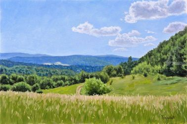 Meadow on the Mountain, Paintings, Impressionism,Realism, Landscape,Nature, Canvas,Oil, By Dejan Trajkovic