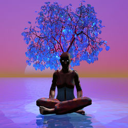 Meditation Tree, Digital Art / Computer Art, Chance,Commercial Design,Hallucinogens,Romanticism, Avant-Garde,Botanical,Fantasy,Figurative,Floral,Land Art, Digital, By Matthew Lacey