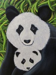Mei and Liang, panda, pandas,<br>bear, bears, nature, wildlife,<br>mother, baby, abstract,<br>contemporary, modern, wall<br>art, home decor, gift, black,<br>white, green, Paintings, Abstract, Animals, Acrylic, By melanie lutes
