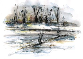 Melting snow, Paintings, Abstract,Impressionism,Modernism, Landscape, Ink,Watercolor, By Aniko Hencz