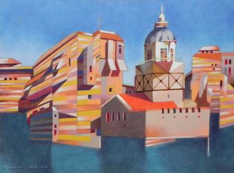 Memory of Istanbul, Leandro<br>Tower, Illustration,Paintings, Expressionism,Fine Art, Architecture,Landscape, Oil,Painting, By federico cortese