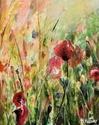 Memory of Summer, Paintings, Fine Art, Botanical,Floral,Landscape,Nature, Acrylic,Canvas, By Marta Kuźniar