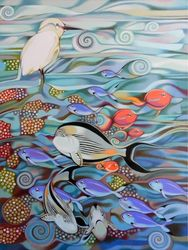 Memory of the coral reef, Paintings, Fine Art, Animals, Oil, By federico cortese