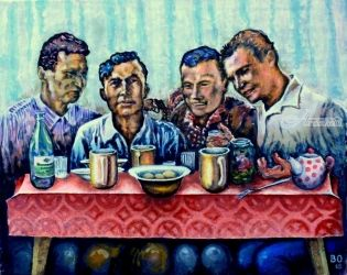 Men's meal, Paintings, Surrealism, Figurative, Acrylic,Canvas, By Victor Ovsyannikov