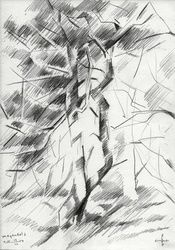 Meyendel 2 - 12-06-14, Drawings / Sketch, Abstract,Cubism,Fine Art,Impressionism,Realism, Composition,Figurative,Inspirational,Landscape,Nature, Pencil, By Corne Akkers