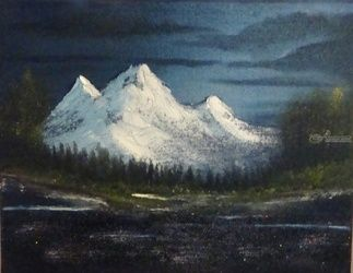 Midnight, Paintings, Fine Art, Landscape, Canvas,Oil,Painting, By Lana Fultz
