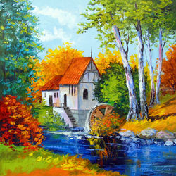 Mill by the river, Paintings, Fine Art,Impressionism, Botanical,Landscape, Canvas,Oil,Painting, By Olha   Darchuk