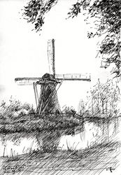 Mill near Haastrecht<br>(Zuid-Holland, Netherlands -<br>27-04-14, Drawings / Sketch, Abstract,Fine Art,Impressionism,Realism, Composition,Figurative,Inspirational,Landscape,Nature, Ink, By Corne Akkers