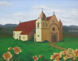 Mission Carmel, Paintings, Expressionism, Architecture, Acrylic, By Jane Adrianson