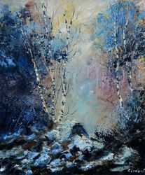Misty wood 67, Architecture,Decorative Arts,Drawings / Sketch,Paintings, Impressionism, Landscape, Canvas, By Pol Ledent