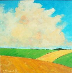 Mixed Fields, Paintings, Fine Art,Impressionism,Realism, Landscape, Acrylic,Canvas, By David Edwards