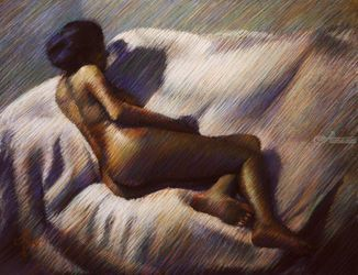 Model session – 17-01-19, Pastel, Impressionism, Anatomy,Composition,Erotic,Figurative,Inspirational,Nudes,People, Pastel, By Corne Akkers