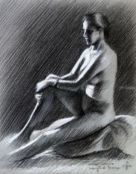 Model session @ Leidschendam<br>– 14-05-18, Drawings / Sketch, Fine Art,Impressionism,Realism, Anatomy,Composition,Erotic,Inspirational,Nudes,People, Pastel, By Corne Akkers