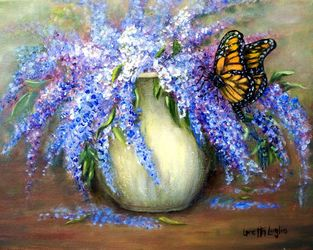 Monarch of the Lilace, Paintings, Fine Art,Impressionism,Realism, Botanical,Still Life,Wildlife, Oil, By Loretta Luglio