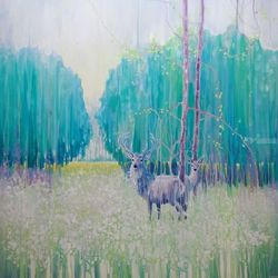 Monarchs of Spring - a large<br>oil painting of a green spring<br>meadow with deer, Paintings, Expressionism, Landscape, Oil, By Gill Bustamante