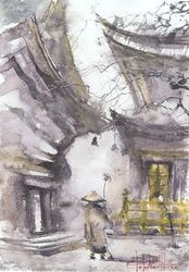 Monk, Paintings, Fine Art, Architecture,Landscape,Wildlife, Painting,Watercolor, By Eugene Gorbachenko