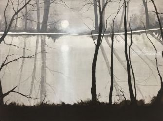 Moon River, Paintings, Impressionism, Landscape, Oil, By Stephen Keller