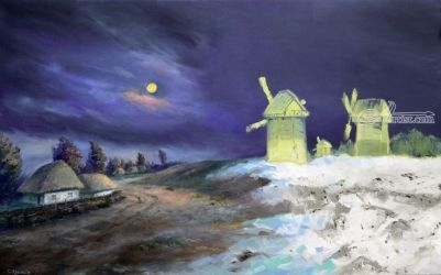 Moon Snow, Paintings, Abstract,Realism,Surrealism, Landscape, Canvas,Oil, By Sergey Lutsenko