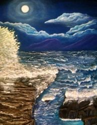 Moonlight crash, Paintings, Expressionism,Fine Art, Seascape, Acrylic,Mixed, By Robert Crawford