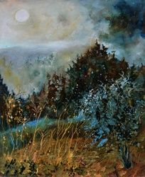 Moonshine 56, Architecture,Decorative Arts,Drawings / Sketch,Paintings, Impressionism, Landscape, Canvas, By Pol Ledent