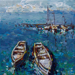 Moored boats - Original<br>acrylic seascape painting, Paintings, Impressionism, Landscape,Nature,Seascape, Acrylic,Canvas, By Anastasiya Valiulina