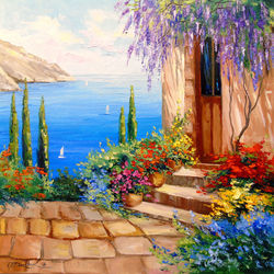 Morning by the sea, Paintings, Impressionism, Architecture,Botanical,Floral,Landscape,Nature, Canvas,Oil,Painting, By Olha   Darchuk