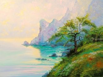 Morning by the sea, Paintings, Impressionism, Botanical,Land Art,Landscape,Nature,Seascape, Canvas,Oil,Painting, By Olha   Darchuk