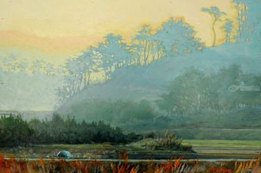Morning Fog, Paintings, Impressionism, Landscape, Canvas,Oil, By Mason Kang