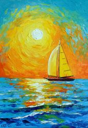 Morning sailboat, Paintings, Fine Art,Impressionism, Fantasy,Landscape,Seascape, Canvas,Oil,Painting, By Olha   Darchuk