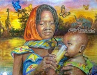 Mother Africa, Paintings, Realism, Figurative, Acrylic, By Luz Celeste Figueroa