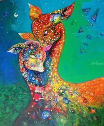 mother and child, Paintings, Fine Art, Animals,Fantasy,Figurative, Canvas, By sanjay punekar