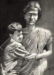 Mother & son, Drawings / Sketch, Fine Art,Photorealism,Realism, 3-D,People,Portrait, Pencil, By Jayanta Barman