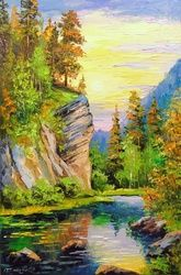 Mountain stream, Paintings, Impressionism, Botanical,Landscape,Nature, Canvas,Oil,Painting, By Olha   Darchuk